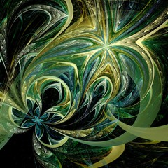 Green and yellow fractal flower pattern