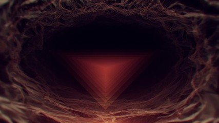 Flickering triangles drifting through shifting geometric cave