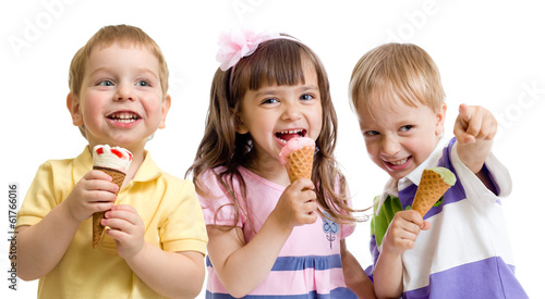 happy children or kids group with ice cream isolated on white