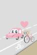 自転車道を走るイラスト