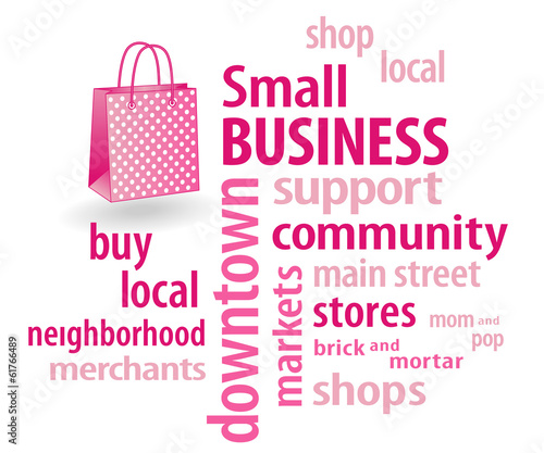 Small Business, bag, shop local neighborhood stores, word cloud