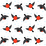 Vector seamless ornament bullfinches on white background