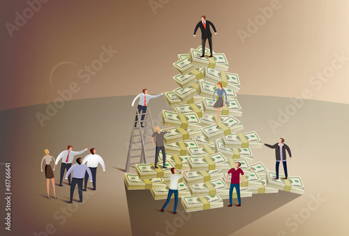 Illustration of a business people climbing a pile of money