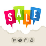 Colorfull speech bubbles with the word SALE