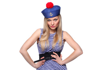 beautiful young blond woman  as  sailor