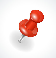 Vector red pushpin on white background