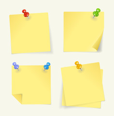 Vector set of yellow sticky Notes with pin