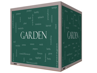 Garden Word Cloud Concept on a 3D cube Blackboard