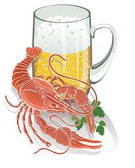 Boiled cancer with a mug of beer. Illustration