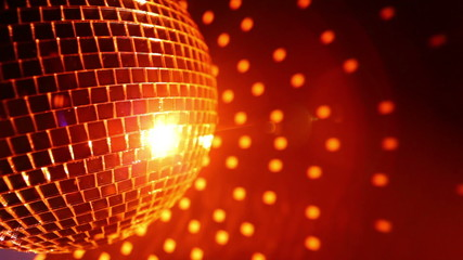 Orange disco ball effect and reflected dots on the wall, HD 1080