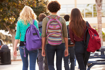 Rear View Of Students Walking To High School