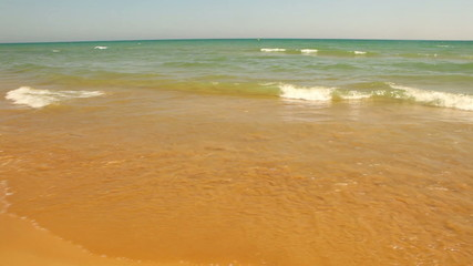 Waves on the yellow sandy beach, HD 1080p