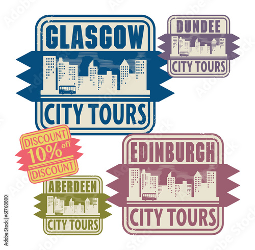 Stamp set with names of Scotland cities, vector