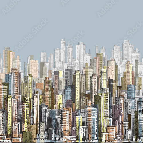 Cityscape. Hand drawn vector - 61768896