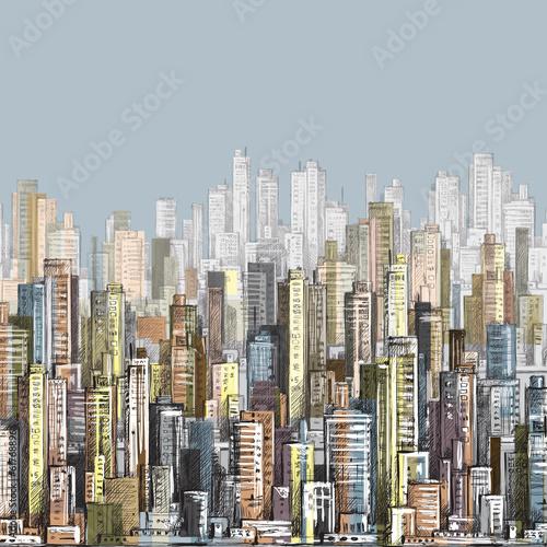 Cityscape. Hand drawn vector - 61768896