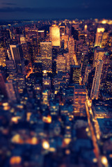 New York Manhattan at night with soft focus