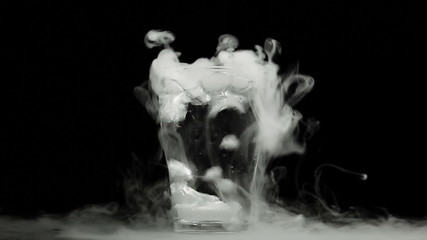 Boiling dry ice in a water with dense vapor, HD 1080p