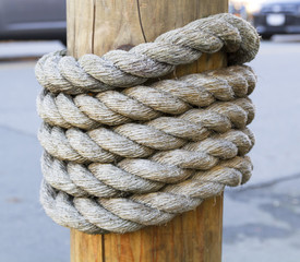 Rope around wood