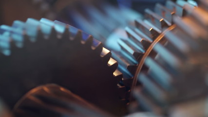Gears with cogs in action. HD 1080p, Loop.