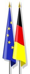 Fahnen: Europa und Deutschland zusammen