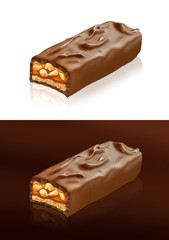 Closeup of chocolate bar with clipping path