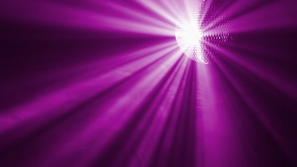 Rotating disco ball with purple rays, abstract background