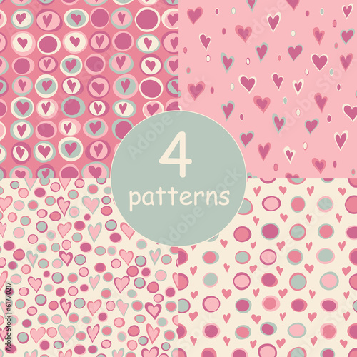 Cartoon hearts and circles seamless pattern.