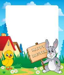 Frame with Easter bunny topic 7