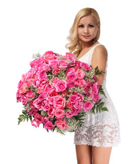 Blonde Girl with Huge Bouquet of Roses. Beautiful Young Woman