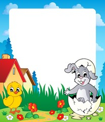 Frame with Easter bunny topic 8