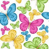 seamless background with bright colorful butterflies