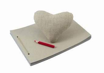 Linen Heart with sketchbook and pencil