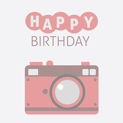 Flat Cute Camera Card Happy Birthday Icon