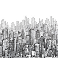 City landscape, hand drawn  vector