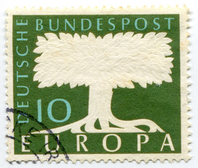 Tree drawn on postage stamp