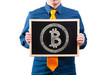 Businessman holding a blackboard with bitcoin symbol