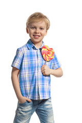 Little boy with colorful lollipop