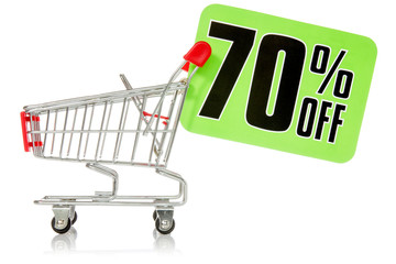Shopping cart with green sale tag