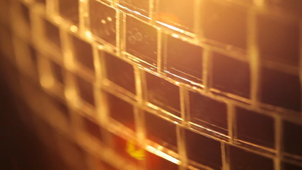 Close-up view of rotating disco ball, HD 1080p