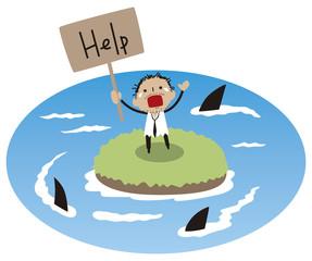 サメから助けを求めるビジネスマン