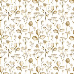 Wild flower drawings. Seamless pattern