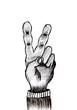 main signe v de victoire