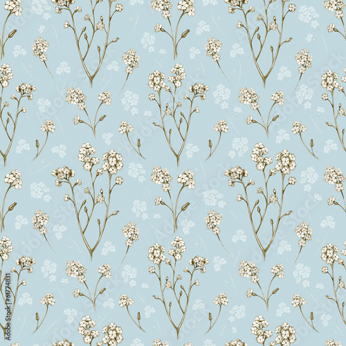 Forget me not flower drawings. Seamless pattern