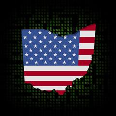 Ohio map flag on dollar symbols illustration