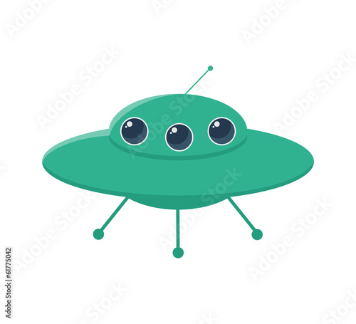 UFO rocket icons alien, space, science,  cartoon,