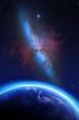 Planet Erde und Galaxie Nebula