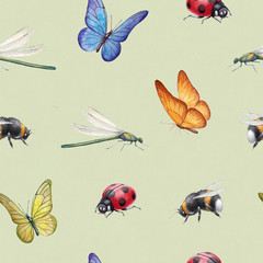 Seamless pattern with watercolor insects illustrations