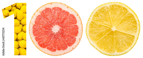 One Hundred Number Concept Made Of Citrus Fruits