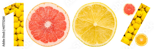One Hundred Percent Concept Made Of Citrus Fruits