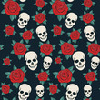 vector seamless with roses and skulls